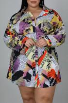 Colour Casual Print Split Joint Buckle Turndown Collar A Line Plus Size Dresses