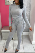 Grey Casual Solid Split Joint Draw String Fold O Neck Long Sleeve Two Pieces