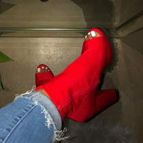 Red Fashion Hollowed Out Split Joint Solid Color Pointed Wedges Shoes