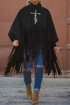 Black Fashion Casual Print Tassel Turtleneck Tops