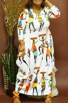 White Fashion Casual Print Basic O Neck Long Sleeve Plus Size Dresses