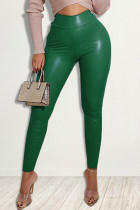 Green Fashion Casual Solid Skinny High Waist Trousers