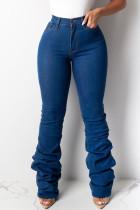 Deep Blue Casual Solid Split Joint Fold High Waist Regular Denim Jeans