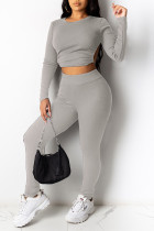 Grey Sexy Solid Split Joint Frenulum Backless O Neck Long Sleeve Two Pieces
