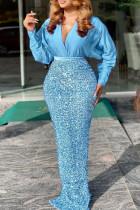 Blue Sexy Elegant Solid Split Joint  Sequins V Neck One Step Skirt Dresses