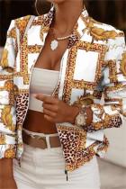 White Yellow Fashion Casual Print Cardigan Zipper Collar Outerwear