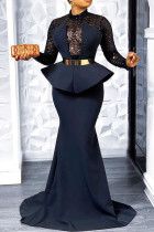 Deep Blue Sexy Elegant Solid Split Joint Asymmetrical Half A Turtleneck Evening Dress Dresses(Without Belt)