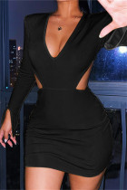 Black Sexy Casual Solid Hollowed Out V Neck Long Sleeve Dresses