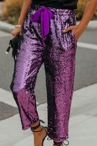 Purple Fashion Patchwork Draw String Capris  Sequins Bottoms
