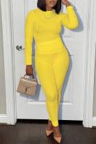 Yellow Casual Sportswear Solid Basic O Neck Long Sleeve Two Pieces