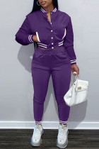Purple Fashion Casual Solid Split Joint Long Sleeve Two Pieces
