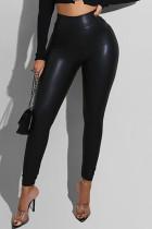 Black Fashion Casual Solid Skinny High Waist Trousers