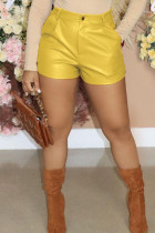 Yellow Fashion Casual Solid Basic Regular Mid Waist Shorts