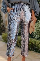 Grey Fashion Patchwork Draw String Capris  Sequins Bottoms
