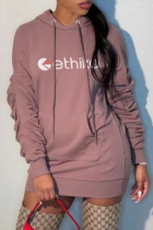 Pink Casual Print Split Joint Hooded Collar Straight Dresses