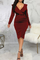 Burgundy Casual Solid Split Joint Flounce Asymmetrical V Neck One Step Skirt Dresses