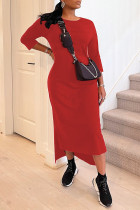 Red Casual Solid Split Joint O Neck Long Sleeve Dresses