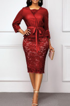 Red Sexy Solid Bandage Hollowed Out Split Joint V Neck One Step Skirt Dresses