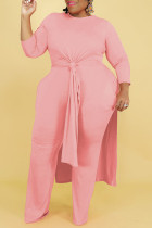 Pink Casual Solid Split Joint Slit O Neck Long Sleeve Two Pieces