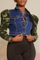 Dark Blue Fashion Casual Camouflage Print Split Joint Turndown Collar Long Sleeve Regular Denim Jacket