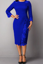 Blue Elegant Solid Embroidered Hollowed Out Split Joint O Neck Straight Dresses