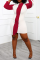 Red Sexy Solid Split Joint Half A Turtleneck Irregular Dress Dresses