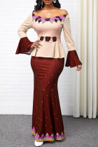 Nude Pink Casual Elegant Print Split Joint Off the Shoulder Straight Dresses
