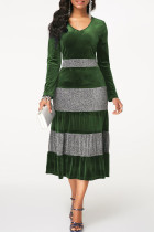Green Casual Solid Split Joint Flounce V Neck Long Sleeve Dresses