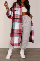 White Red Casual Plaid Split Joint Turndown Collar Outerwear
