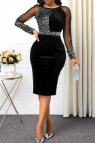 Black Sexy Solid Split Joint See-through O Neck One Step Skirt Dresses