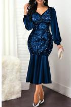 Blue Sexy Solid Split Joint Flounce V Neck Long Sleeve Dresses