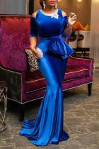 Blue Elegant Solid Embroidered Hollowed Out Split Joint O Neck Evening Dress Dresses
