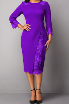 Purple Elegant Solid Embroidered Hollowed Out Split Joint O Neck Straight Dresses