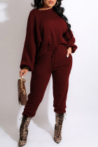 Burgundy Fashion Casual Solid Basic O Neck Long Sleeve Two Pieces