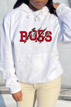 White Red Fashion Casual Letter Print Basic Hooded Collar Tops