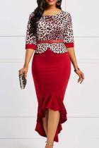 Red Casual Elegant Print Leopard Split Joint Asymmetrical O Neck Trumpet Mermaid Dresses