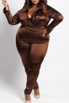 Brown Fashion Casual Solid Basic Turndown Collar Plus Size Two Pieces