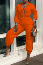 Tangerine Red Casual Solid Draw String V Neck Harlan Jumpsuits