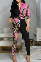 Pink Casual Print Split Joint Turndown Collar Long Sleeve Two Pieces