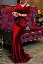 Burgundy Elegant Solid Embroidered Hollowed Out Split Joint O Neck Evening Dress Dresses