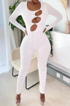 Cream White Sexy Solid Hollowed Out O Neck Skinny Jumpsuits