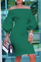Green Fashion Casual Solid Backless Off the Shoulder Long Sleeve Dresses