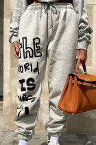 Grey Fashion Casual Letter Print Basic Regular Mid Waist Trousers