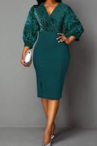 Green Casual Solid Split Joint V Neck A Line Dresses
