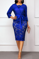 Blue Sexy Solid Bandage Hollowed Out Split Joint V Neck One Step Skirt Dresses