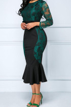 Green Sexy Solid Embroidered Hollowed Out Split Joint O Neck Trumpet Mermaid Dresses
