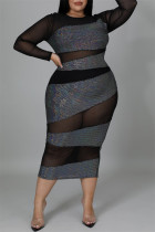 Black Fashion Sexy Patchwork See-through O Neck Long Sleeve Plus Size Dresses