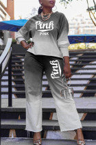 Black Fashion Casual Gradual Change Letter Print Basic O Neck Long Sleeve Two Pieces