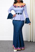 Blue Casual Elegant Print Split Joint Off the Shoulder Straight Dresses
