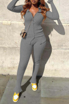 Grey Casual Solid Split Joint Buckle Turndown Collar Long Sleeve Two Pieces